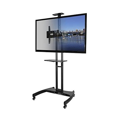 mobile tv stand kanto mobile tv stand with adjustable shelf and flat screen mount fits 37 to 65 monitors