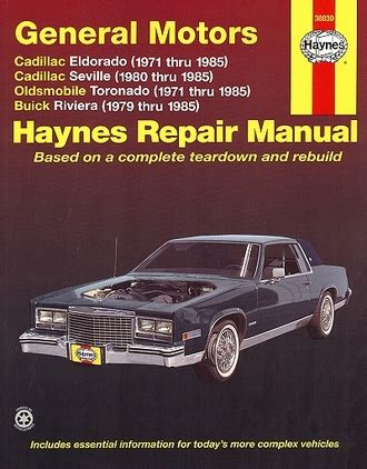 online repair manual for a 1993 buick riviera eldorado seville toronado riviera repair manual 1971 1985