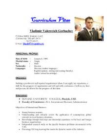 Resume Bio Example Example Of Biodata