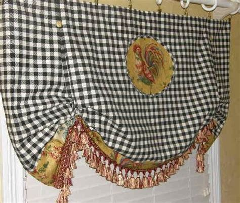 Rooster Valance Custom Valance Country Toile Rooster Plaid Check