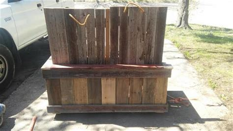 outdoor bench with cooler diy pallet double cooler bench pallet furniture plans