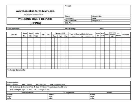 Welding Quality Plan Template