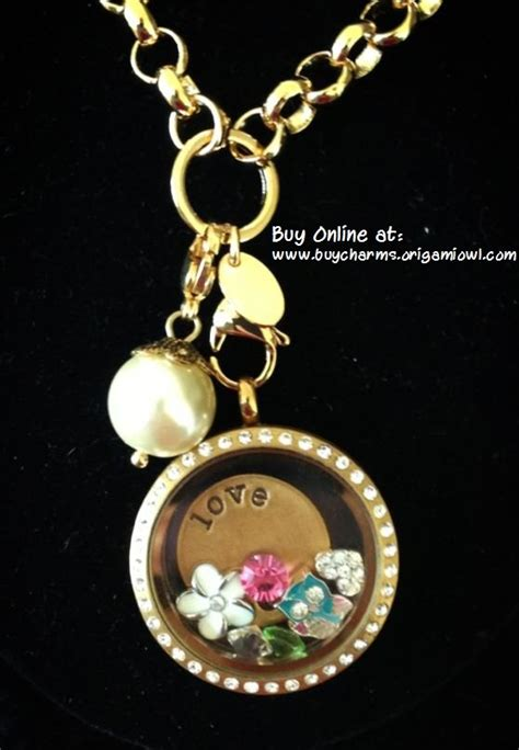 Origami Owl Large Gold Locket With Crystals - origami owl large gold locket with crystals and rolo