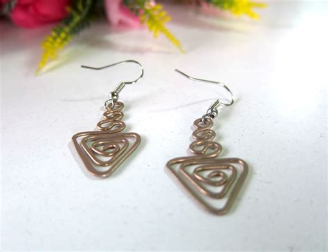 Handmade Jewelry Thailand - bronze dangle earrings coil triangle fashion designs
