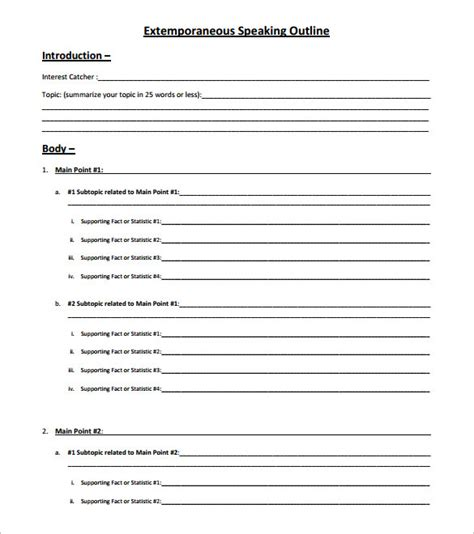 demonstration speech exle template speech outline template 9 free sle exle format