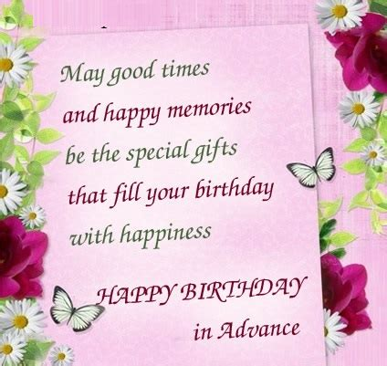 Advance Happy Birthday Wishes In Advance Birthday Wishes For Friends And Family Happy