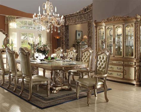 traditional dining room furniture traditional dining set vendome gold by acme furniture ac63000set