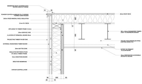 flat roof section detail flat roof design detail detail drawings pinterest