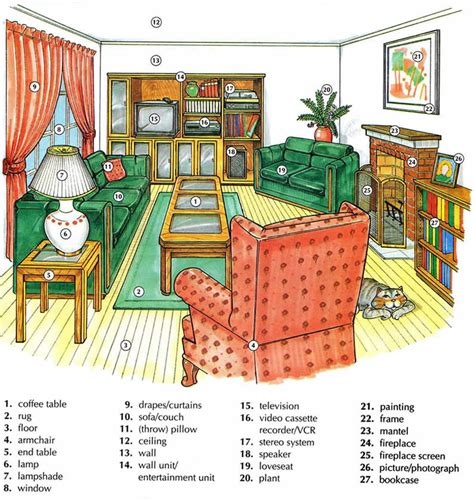 is livingroom one word living room vocabulary with pictures english lesson