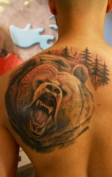 back tattoo bear awesome roaring bear on back shoulder tattoo tattoos