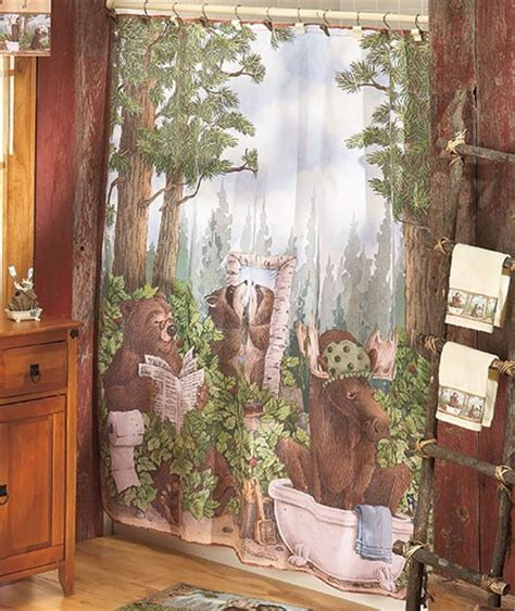 moose shower curtains bear moose woodland bath collection shower curtain rug