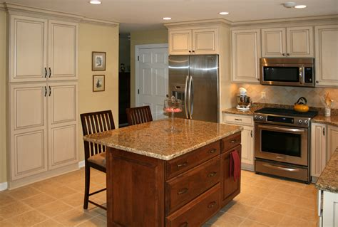 Painted Kitchen Cabinet by Painted And Stained Kitchen Cabinets