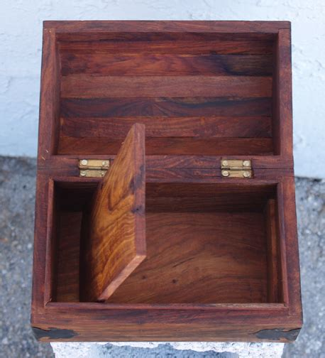 build false bottom drawer wooden box with secret compartment under false bottom