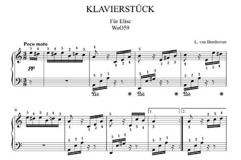 beethoven lettere beethoven f 252 r elise klaviernoten zum herunterladen