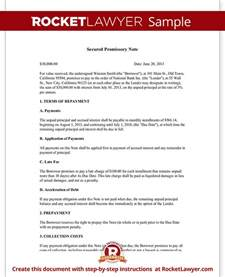 Unsecured Note Template by Secured Promissory Note Secured Loan Agreement Rocket