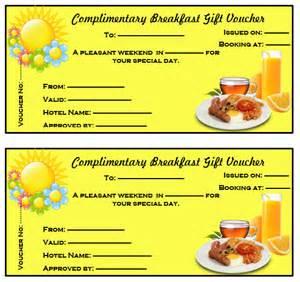 Complimentary Voucher Template complimentary breakfast gift voucher template microsoft
