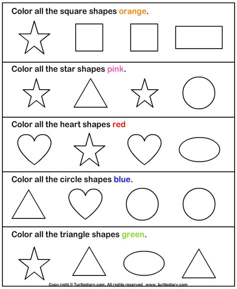 free printable learning shapes learning colors and shapes worksheet turtle diary