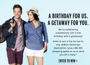 J Crew Factory Gift Card - j crew factory and jetblue getaways sweepstakes win a trip for 2 to a jetblue