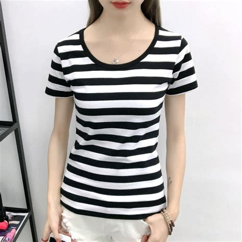 black and white t shirts for women 2017 artee shirt 2017 summer black and white horizontal stripe short sleeve