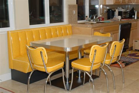 retro kitchen booth yellow cracked chairs table