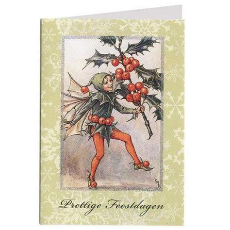 holly fairy glittered christmas card glittered border greeting  dutch prettige kerstdagen