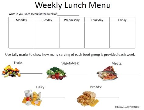 weekly lunch menu template calendar template 2016