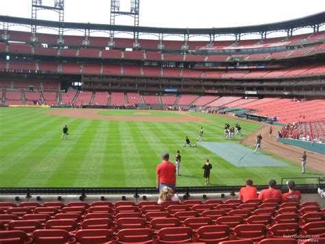 section 130 busch stadium field level outfield busch stadium baseball seating