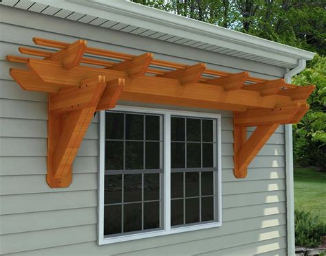 rough cut cedar eyebrow breeze wall mount pergolas