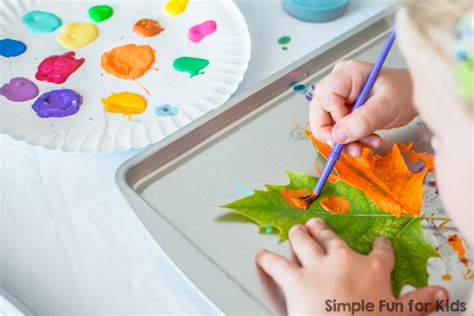 painting craft ideas for painting leaves simple for