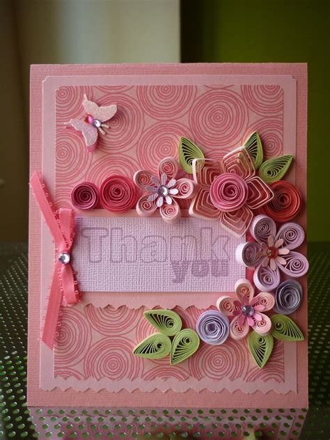 Handmade Paper Cards - handmade paper quilling set of 5 thank you cards