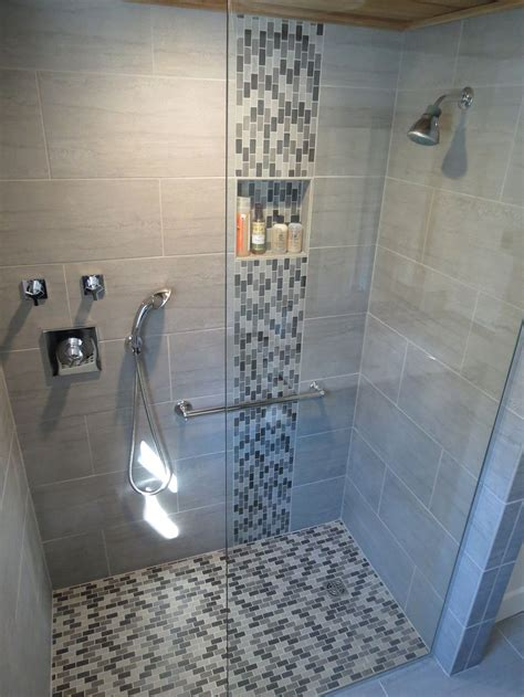 waterfall in bathroom modern waterfall shower with grey wall tile and mosaic