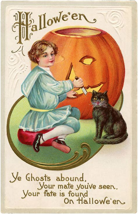 vintage pumpkin carving image  graphics fairy