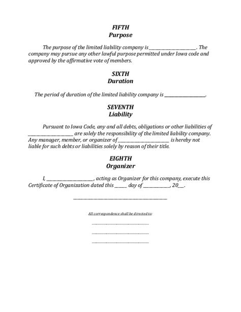 Iowa Llc Formation Document Iowa Llc Certificate Of Organization Template