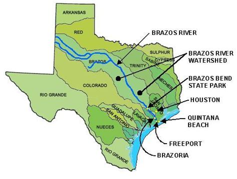 texas map with rivers brazos river