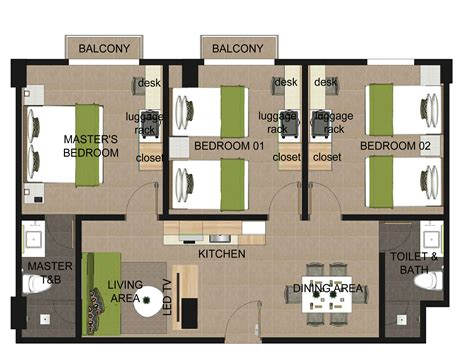 three bedroom 3 bedroom floor plan azalea boracay