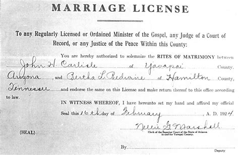 Marriage License Arizona Records License Marriage