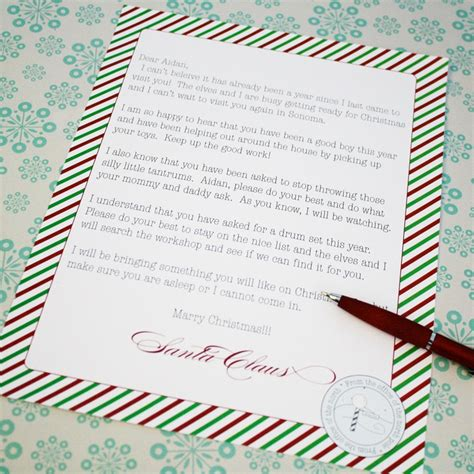 printable personalized santa letters printable personalized letter from santa