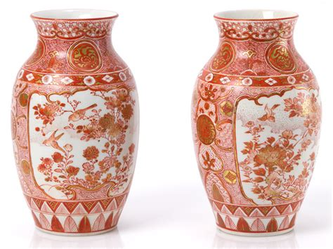 Painted Japanese Vases by C1850 Japanese Kutani Pair Of Painted Vases Ebay