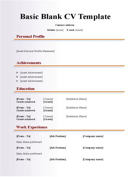 Blank Basic Resume Template Resume Corner Free Resume Templates To Fill In And Print