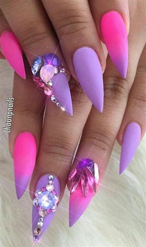 Pink Nail by Pink Purple Rhinestone Stiletto Nails Ecstasy Models