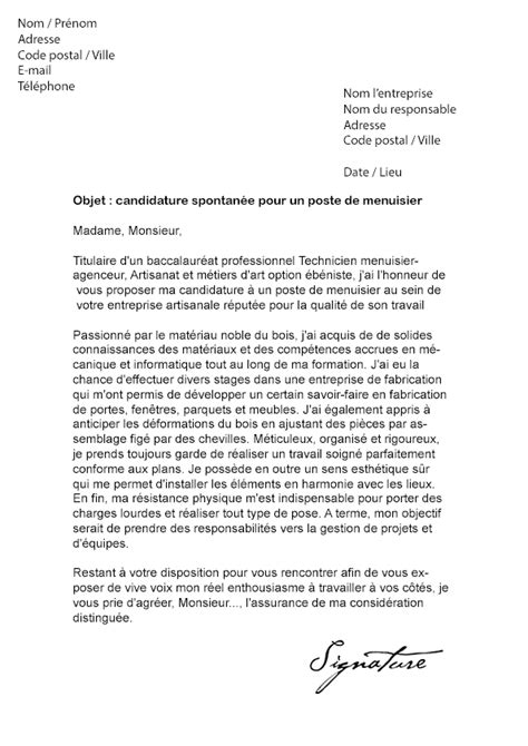 Lettre De Motivation De Menuisier Modele Lettre De Motivation Menuisier Document