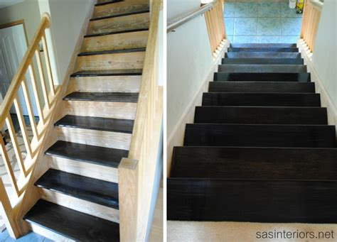 staircase makeover filling holes and staining treads burger