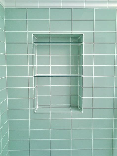 glass subway tile niche bathroom plans