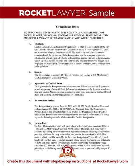 Sweepstakes Exles - sweepstakes rules template with sle