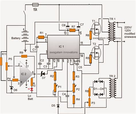 car inverter circuit diagram modified sine wave inverter circuit using ic 3525 with