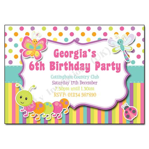 Bugs Butterfly Children S Party Invitation Free Childrens Invites Templates