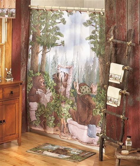 moose bathroom set bear moose woodland bath collection shower curtain rug