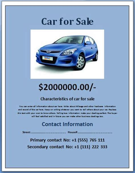 car for sale template flyers for car lot advertising flyers www gooflyers