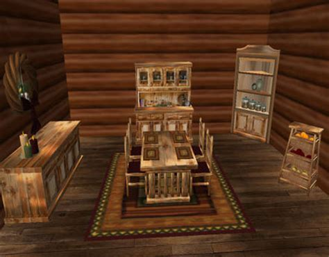 log cabin dining room furniture second life marketplace special sale price menu driven