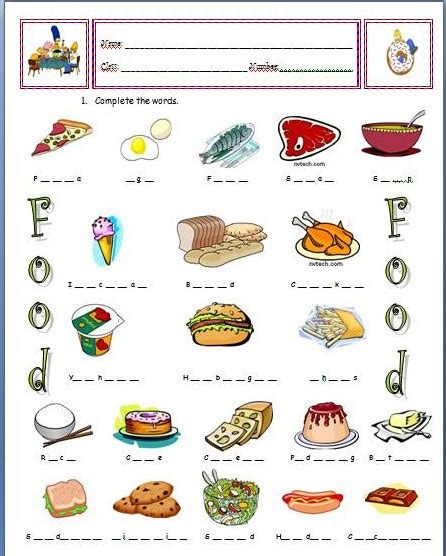 Cooking Vocabulary Worksheet by Spot Food Vocabulary Worksheet
